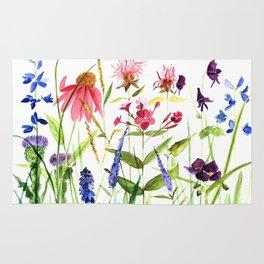 Botanical Colorful Flower Wildflower Watercolor Illustration Rug