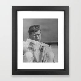 JFK Relaxing Outside Framed Art Print