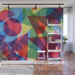 Colorful retro abstract geometric shapes collage hand drawn illustration Wall Mural