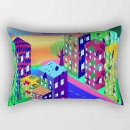 Abstract Urban At Night Rectangular Pillow
