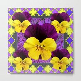 Yellow-Purple Violas Pattern Art Metal Print