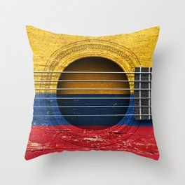 Old Vintage Acoustic Guitar with Colombian Flag Throw Pillow