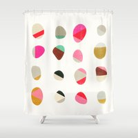 jazzberry Shower Curtains featuring painted pebbles 1 by Garima Dhawan