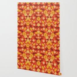Vibrant Orange, Yellow & Brown Floral Pattern w/ Retro Colors Wallpaper