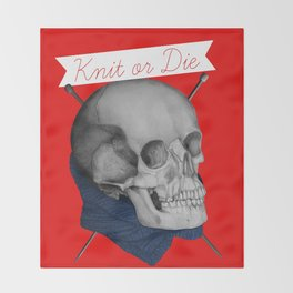 Knit or Die Throw Blanket