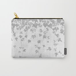 Soft Silver Gray Trailing Ivy Leaf Print Carry-All Pouch