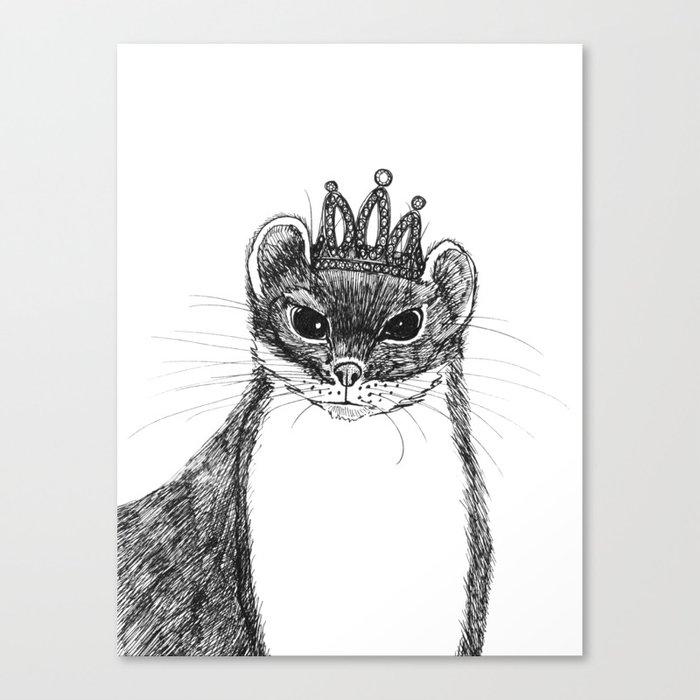 flapper weasel wearing a glittering tiara Canvas Print
