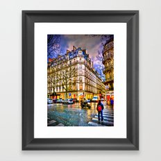 Rainy evening in Paris, France Framed Art Print