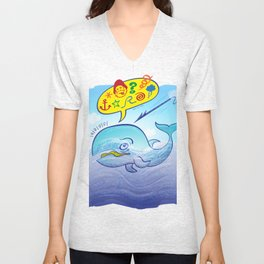 Wild whale saying bad words while fleeing a harpoon Unisex V-Neck
