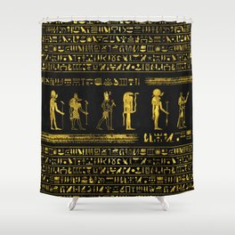 Golden Egyptian Gods and hieroglyphics on leather Shower Curtain