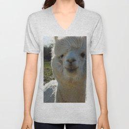Smiling Llama Unisex V-Neck