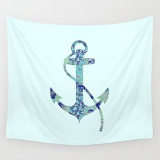 Anchor Vintage Floral Pattern Nautical Navy Blue Aqua Mint Shabby Chic Wall Tapestry