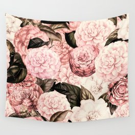 Vintage & Shabby Chic Pink Floral camellia flowers watercolor pattern Wall Tapestry