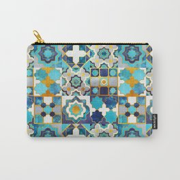 Spanish moroccan tiles inspiration // turquoise blue golden lines Carry-All Pouch