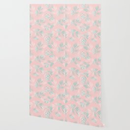 Palm Leaves Lace on blush Wallpaper