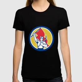 Coal Miner Hardhat Holding Axe and Flag Retro T-shirt
