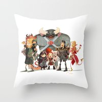 dungeons and dragons Throw Pillows featuring Dungeons and Dragons by Markus Erdt