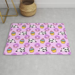 Cute funny Kawaii chibi little playful baby panda bears, happy sweet donuts and adorable yummy cupcakes light pastel pink pattern design. Nursery decor. Rug
