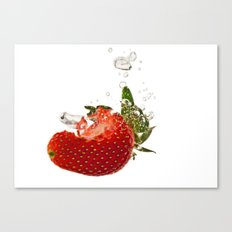Strawberry splash Canvas Print