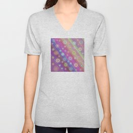 Multicolored circles with striped background in pastel colors. Unisex V-Neck