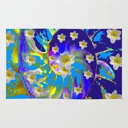 MODERN ART GARDEN BLUE SPIRAL &  DAFFODILS ART Rug