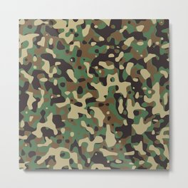 Camouflage Green Brown Tan and Black Texture Pattern Background Metal Print