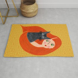 Besties. Crazy cat lady with golden geometric pattern Rug