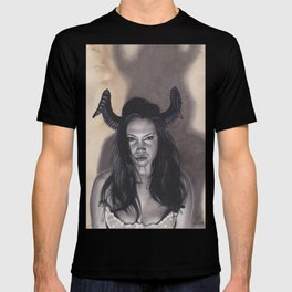 Realism Drawing of a Sexy Devilish Woman with Coffee Stained Background T-shirt