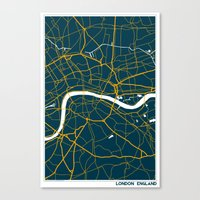 london map Canvas Prints featuring London Map by Studio Tesouro