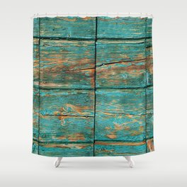 Rustic Teal Boards (Color) Shower Curtain