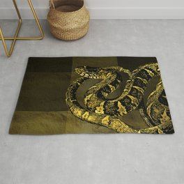 Gold and Black Snake Digital art Rug