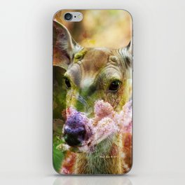Fawn Peeking Through The Lilac Bushes By Annie Zeno iPhone Skin