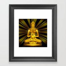 Buddha Siddhartha Gautama Golden Statue Framed Art Print