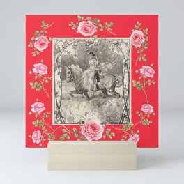Girl riding horse in the rose garden - Romantic scene Mini Art Print