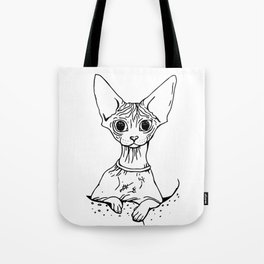 Big Eyed Pretty Wrinkly Kitty - Sphynx Cat Illustration - Nekkie - Cat Lover Gift Tote Bag