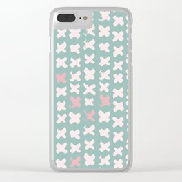 Contemporary X Paint Cross stich Mint Pink Pattern Clear iPhone Case