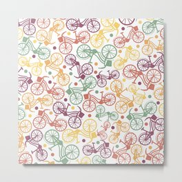 Whimsical bicycle pattern & retro polka dots Metal Print
