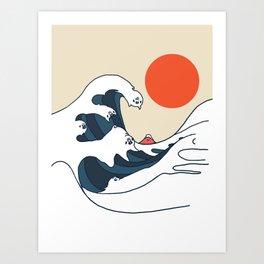 The Great Wave of Pugs Minimal Art Print