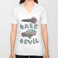 daredevil V-neck T-shirts featuring DareDevil by NickTheGreek