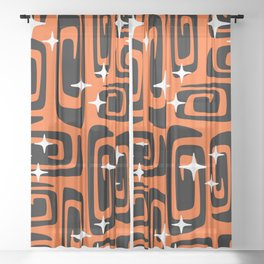 Mid Century Modern Cosmic Galaxies 435 Black and Orange Sheer Curtain