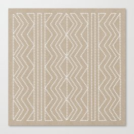 Cream Linen Beige Arrows Pattern Canvas Print
