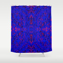 blue on red symmetry Shower Curtain