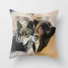 Wolf, Bear, Owl Spirit Animals Throw Pillow