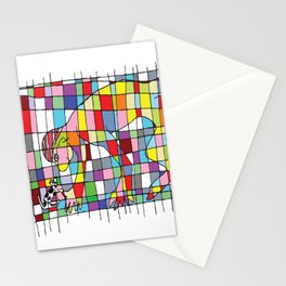 A man and a little dog in the net Stationery Cards