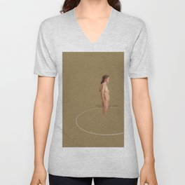 Duality of Mind (pt.1) Nude Female Woman Figure Pastel Drawing Conceptual Modern Contemporary Tan Brown Art Unisex V-Neck
