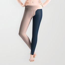 Elegant blush pink & navy blue geometric triangles Leggings