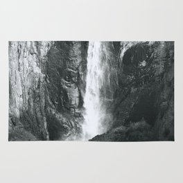 Bridalveil Falls. Yosemite California in Black and White Rug
