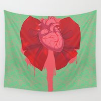 bow Wall Tapestries featuring Bleeding Bow by Missy Pena