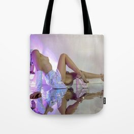Woman stretches back in Esqape Tote Bag