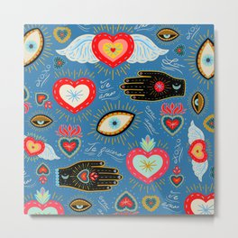 Milagro love hearts - blue Metal Print